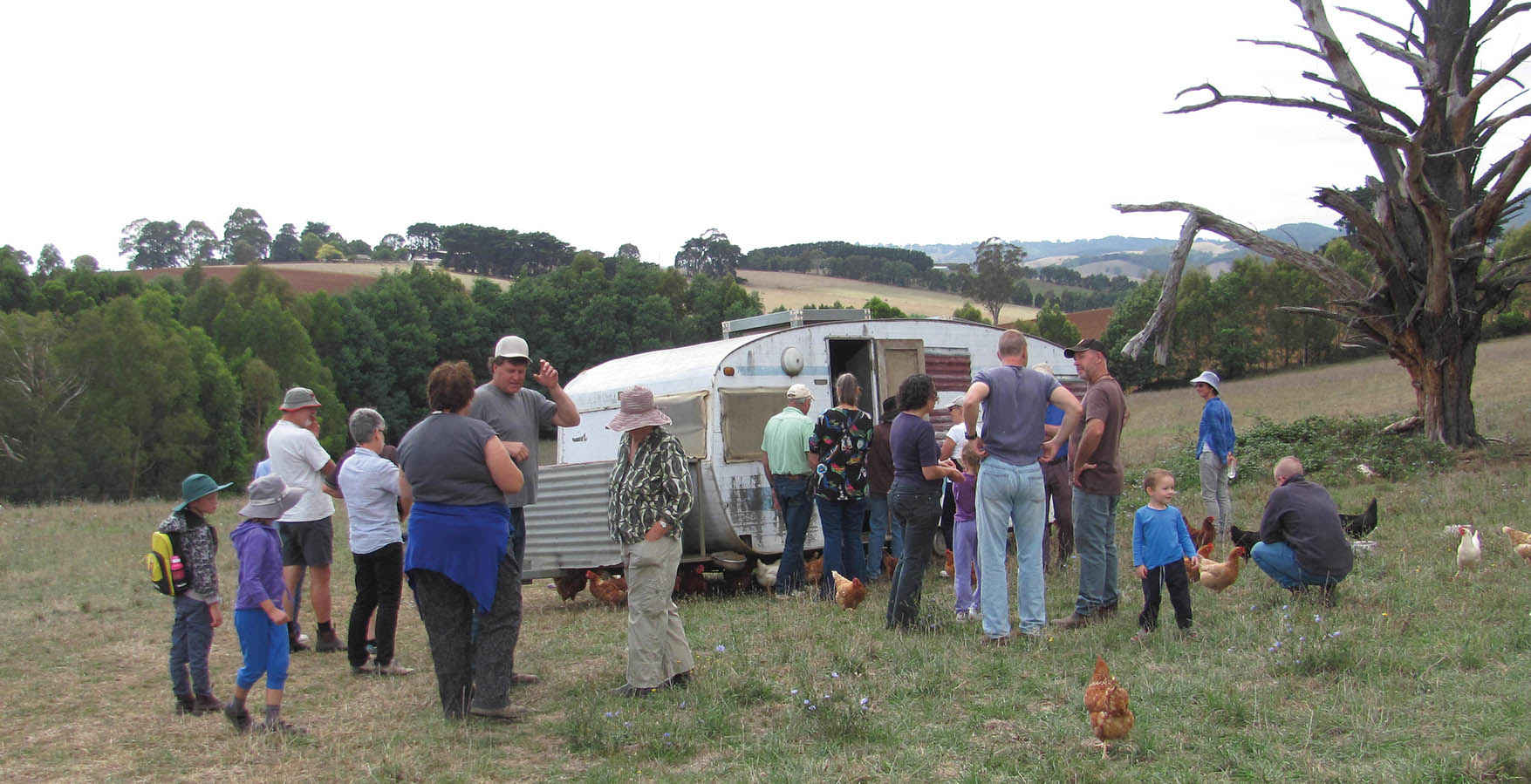 Participants inspect a caravan fitted out to house free-range chickens on an organic dairy farm near Warragul during a Mt Worth and District Landcare Group farm walk.