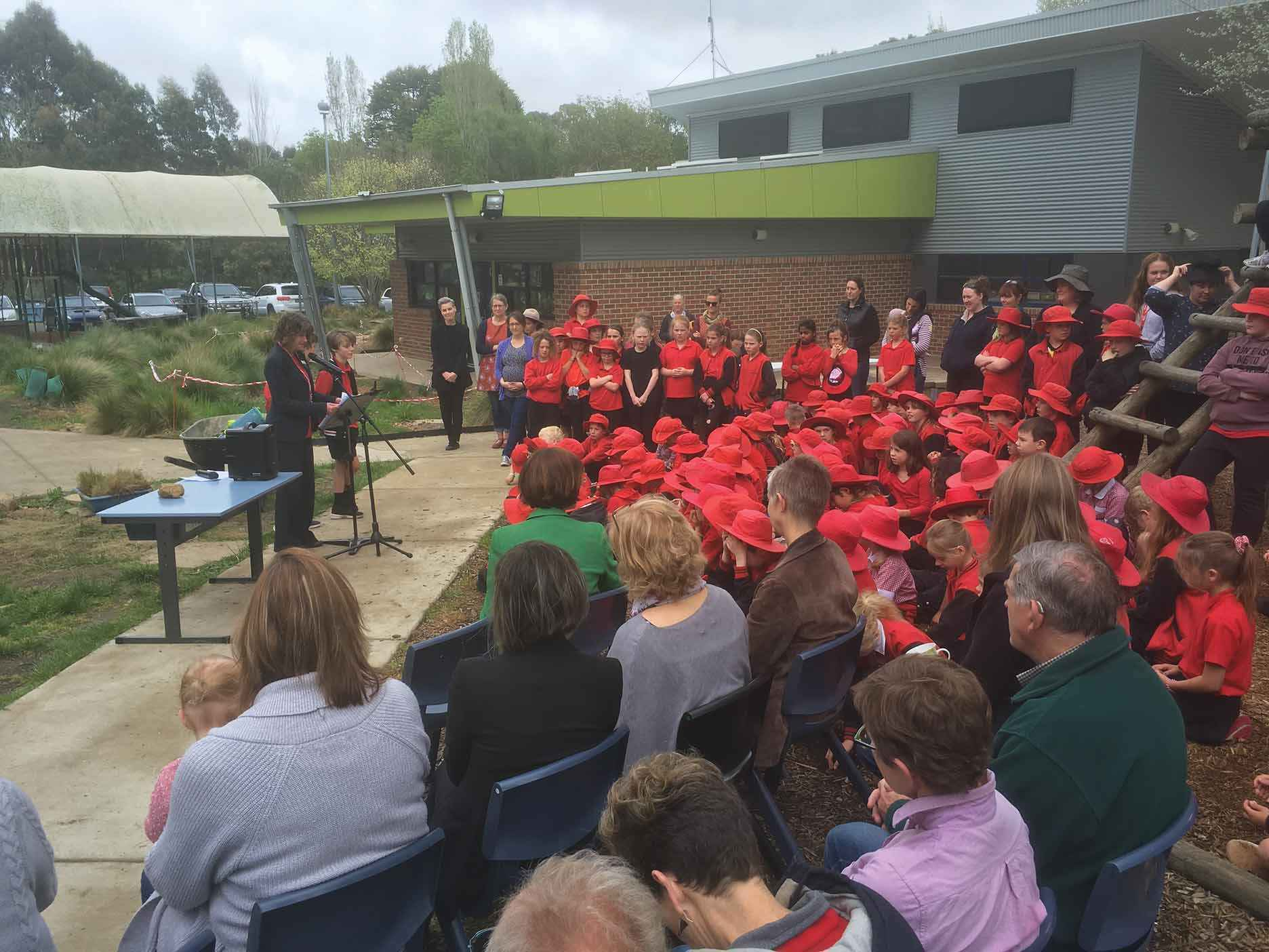 The whole of the Newham Primary School community gathered to hear about the benefits of providing habitat and increasing biodiversity on frog bog day.