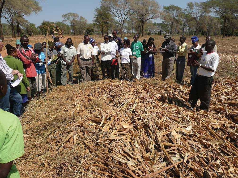 A Landcare master class in Malawi discussing composting and soils.