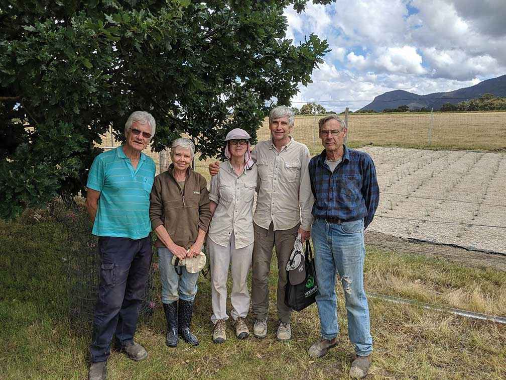 From left, Phil Bennett, Anthea Nicholls, Catherine Pye, Clive Carlyle and Phil Williams after Jallukar Landcare Group's first plant out of native grassland seedlings in Pomonal in 2018.