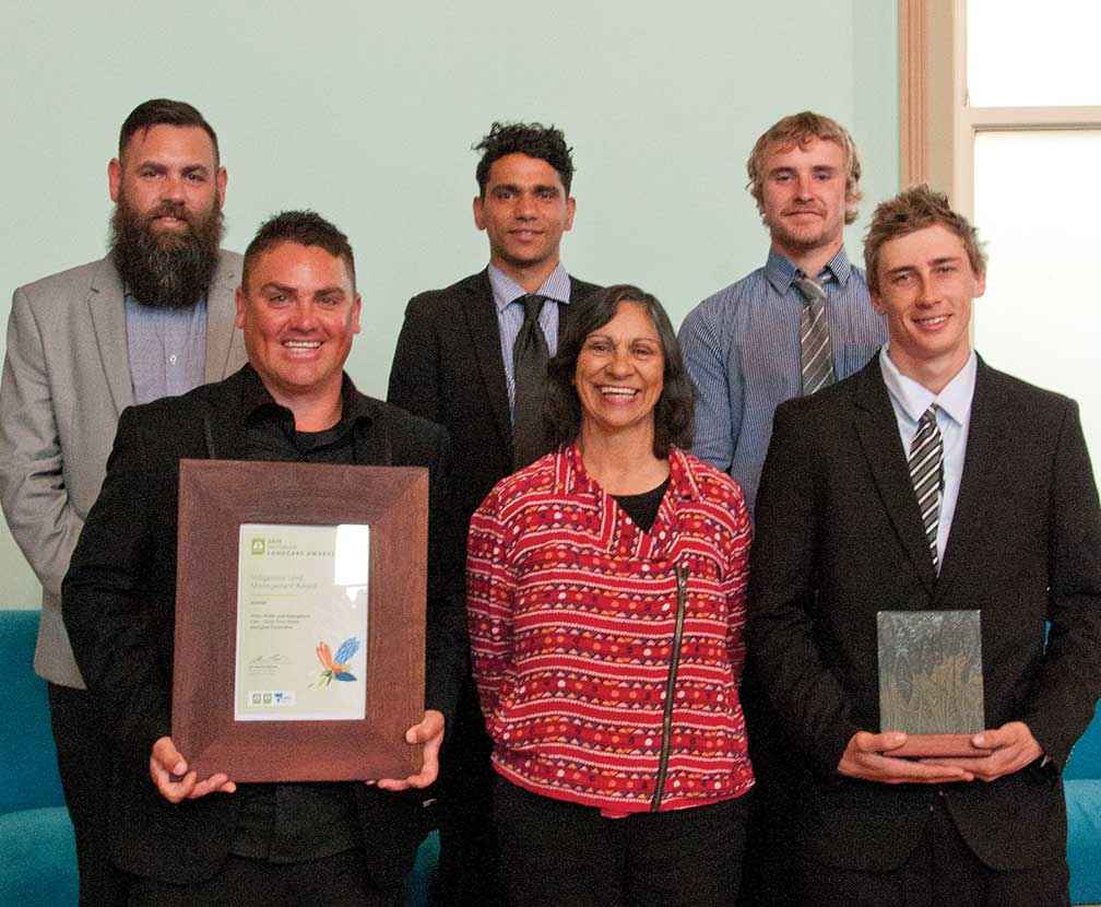 From top left, Woka Walla Crew members Wade Morgan, Ashton Cashion & Ryan Gilbert with, from bottom left, Graham Weston, Monica Morgan (CEO of Yorta Yorta Nation Aboriginal Corporation) & Shanon Watkins display their Indigenous Land Management Award.
