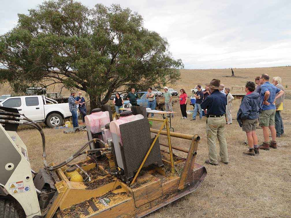 Weed control after fire is critical. A gorse control field day was well attended in February 2015 at Darraweit Guim.
