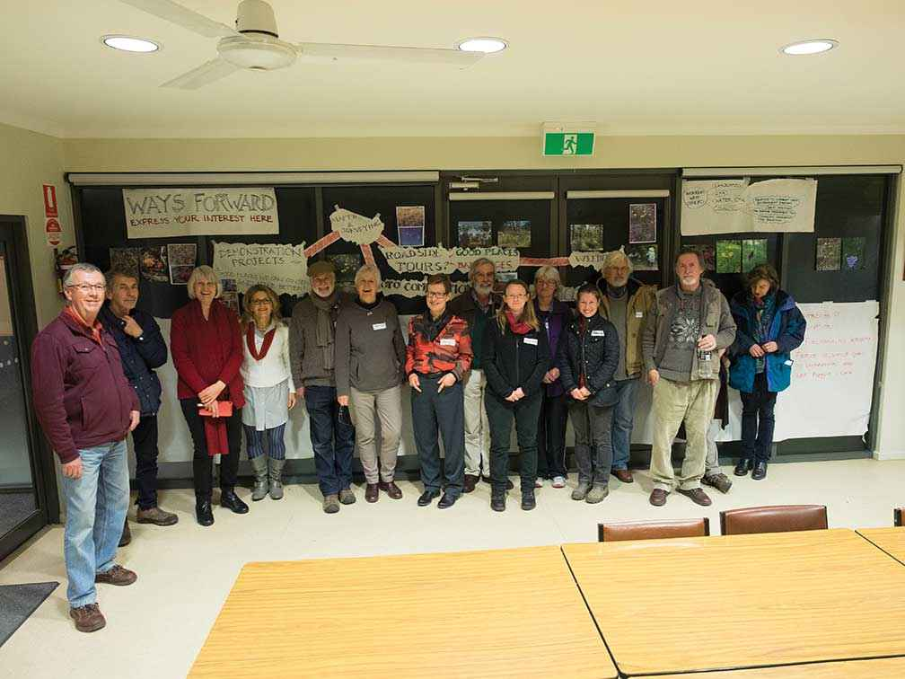 Members of NDLG and other groups get together to talk about roadside conservation in the Newham Hall in 2015.