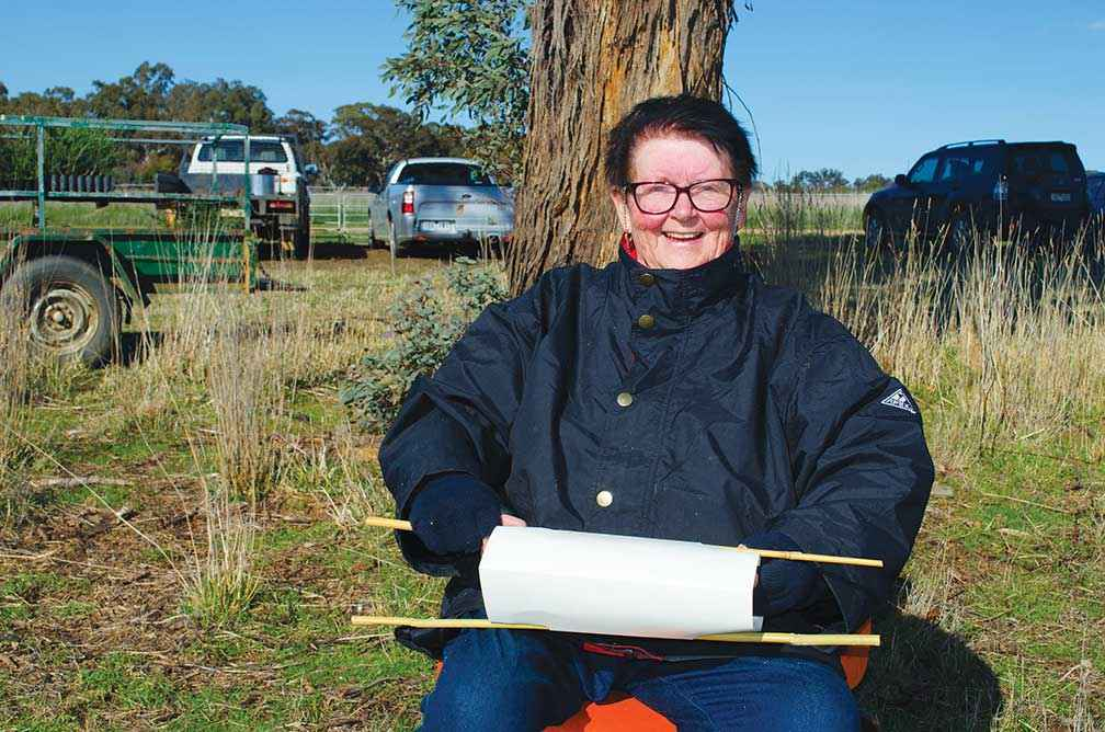 Penny Warner volunteers much of her leisure time to making tree guards for Project Platypus (Upper Wimmera Landcare Network) plant outs.