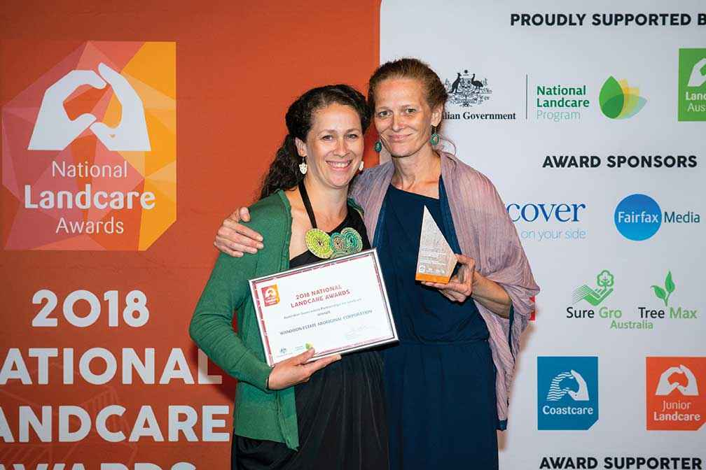 Brooke Collins (left) and Jacqui Wandin accepted the Australian Government Partnerships for Landcare Award on behalf of the Wandoon Estate Aboriginal Corporation.