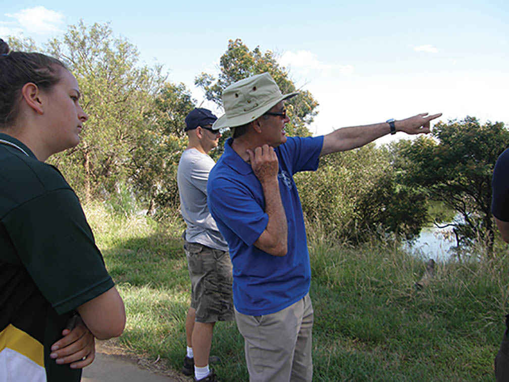 John Forrester takes students from Wyndham Central Secondary College on an ecological tour.