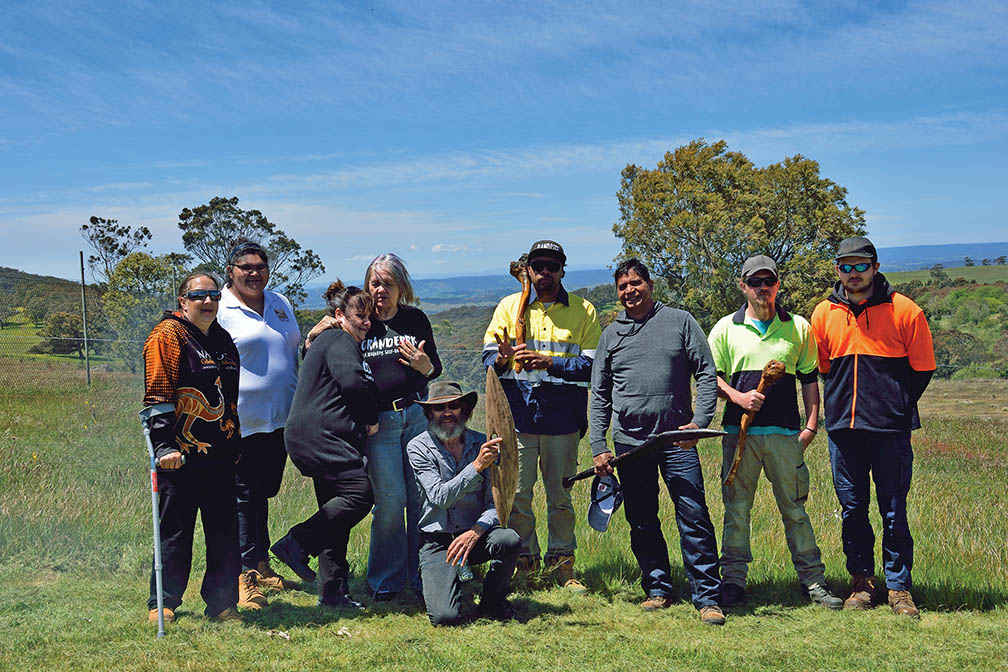 Wurundjeri Elders, land management team and community members at the partnership signing agreement event at Mt William stone axe quarry in November 2016.