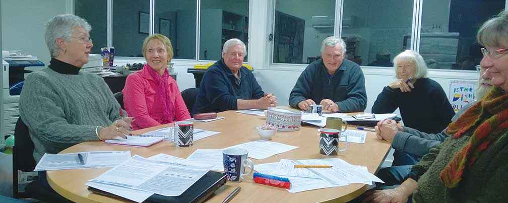 The Mid Loddon Landcare Network Committee discussing the network's long-term future.