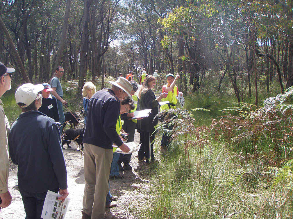 Caroline Gully (at right), from the West Gippsland Seedbank, helps to identify indigenous plants on a nature walk at Sweetwater Creek.