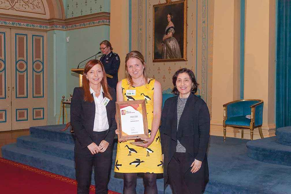 (From left)  Maria Parry from Austcover with Kathleen Brack, winner of the Austcover Young Landcare Leader Award and Minister D'Ambrosio.
