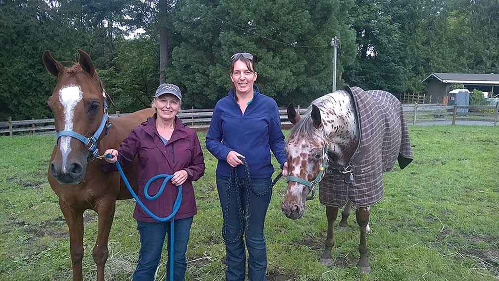 Michele Bower and Karen O'Keefe at Laughing Horse Farm, Preston USA.