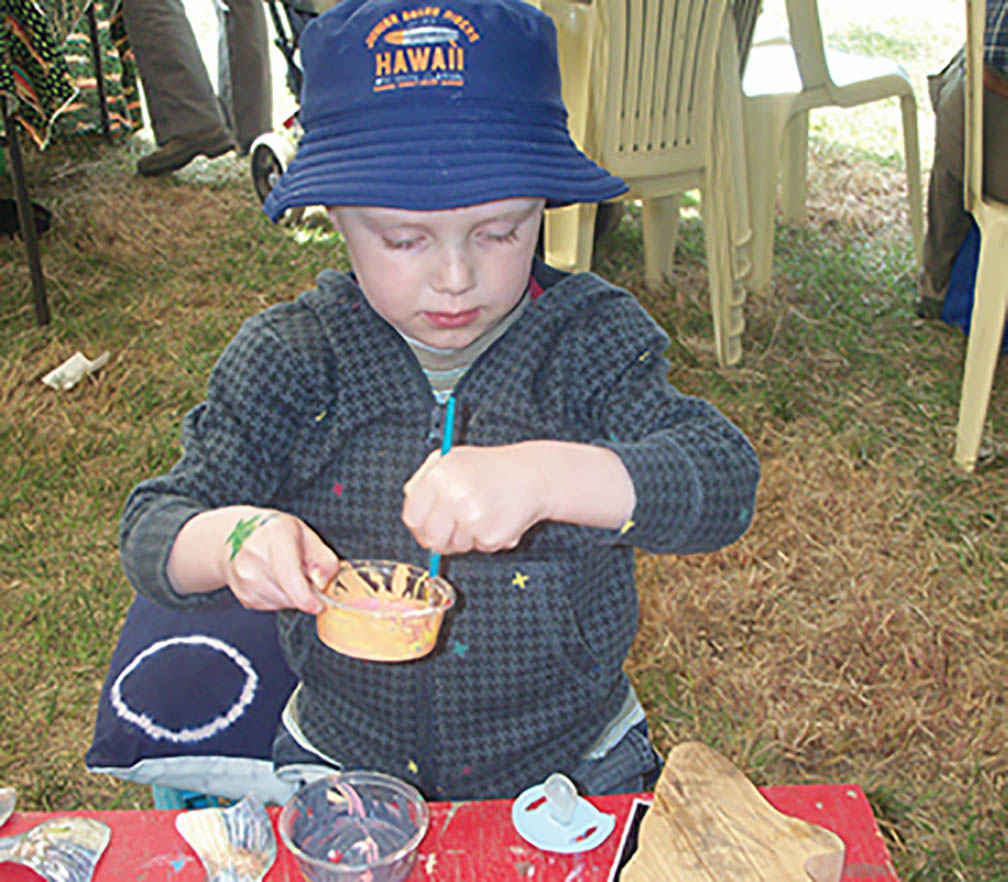 Young artist Quillan Parker enjoys the activities at the Fish Circus held at Avenel in 2016.