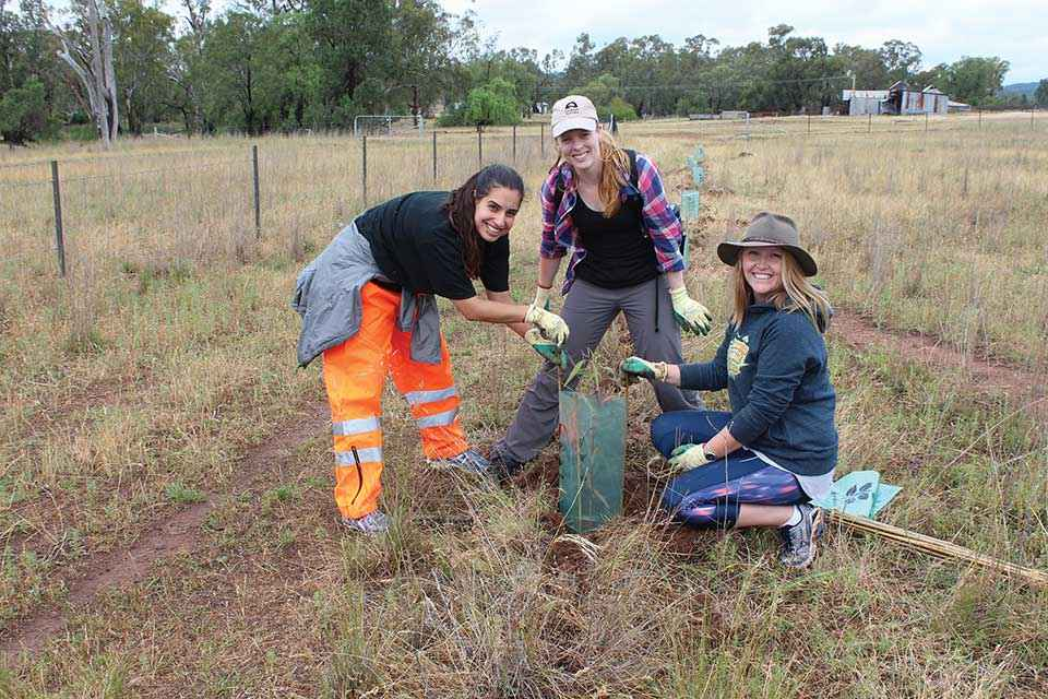 Young women from Illawarra Intrepid Landcare get their hands dirty on a revegetation project at Dubbo.